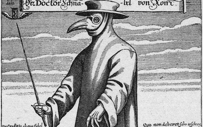 A plague doctor in protective clothing c 1656 - Hulton Archive