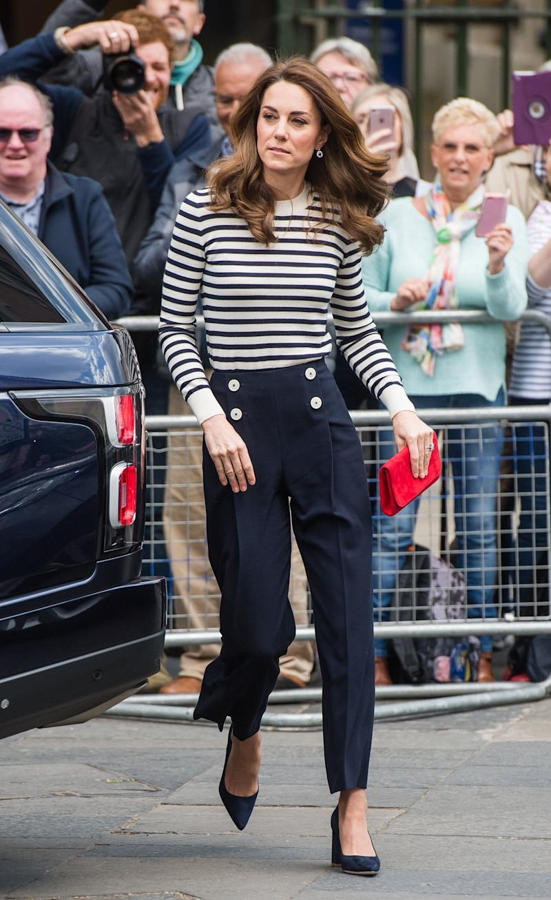 Kate arrives to launch the King's Cup Regatta at Cutty Sark, Greenwich, London on May 7.