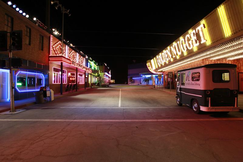 """This undated image released by CBS shows the 1960s-era Vegas strip set of """"Vegas,"""" a new series starring Dennis Quaid and Michael Chiklis, premiering Tuesday, Sept. 25, at 10 p.m. ET/PT. (AP Photo/CBS, Robert Voets)"""