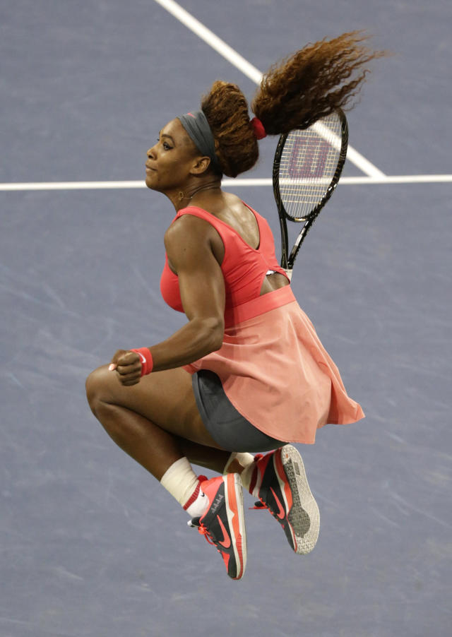 Serena Williams reacts after defeating Victoria Azarenka, of Belarus, during the women's singles final of the 2013 U.S. Open tennis tournament, Sunday, Sept. 8, 2013, in New York. (AP Photo/Kathy Willens)