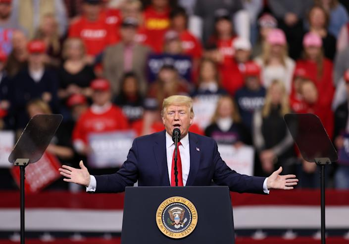 President Trump speaks at a rally in Des Moines, Iowa, on Thursday. (Jonathan Ernst/Reuters)