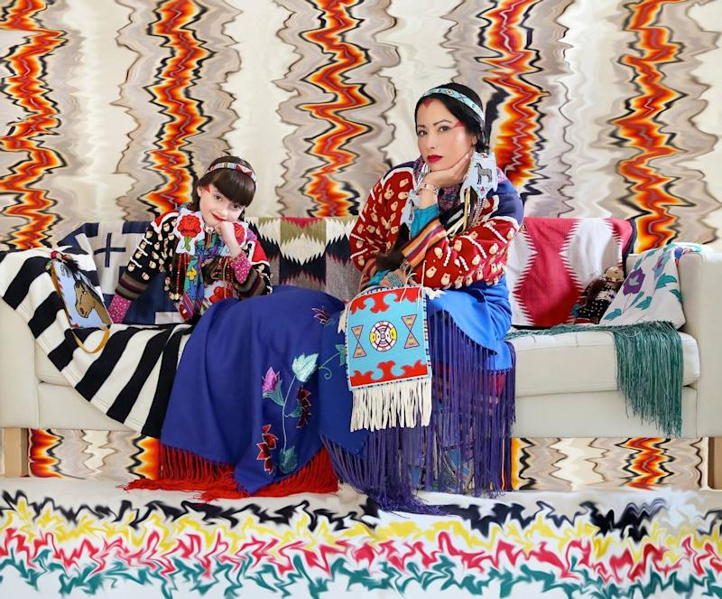 """Wendy Red Star's 2016 photograph, """"Apsáalooke Feminist #4,"""" from the show """"House to House"""" at the Frost-FIU Museum of Art."""