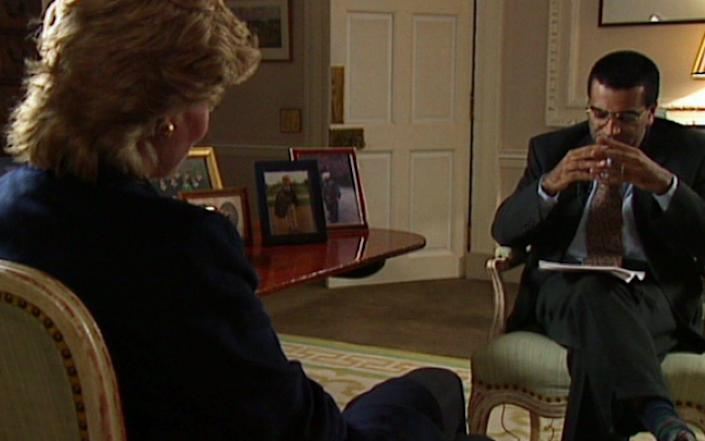 Screen shots from the famous 1995 interview as shown on BBC BBC reports on its own scandal at The Martin Bashir interview with Princess Diana in 1995 which used mock up bank statements to get her speak Picture by Pixel8000 - News Scans