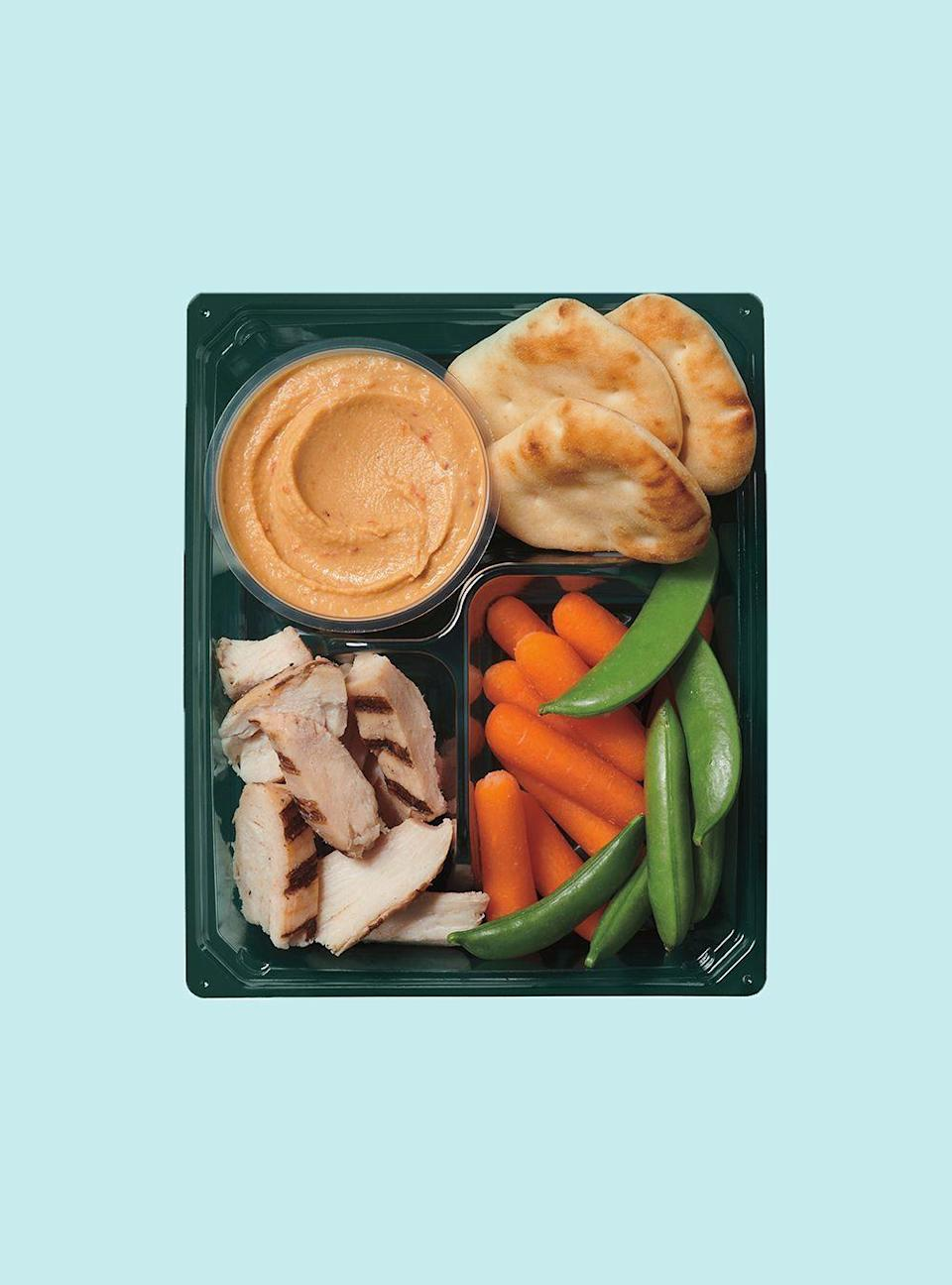 """<p><strong>Starbucks</strong></p><p>starbucks.com</p><p><a href=""""https://www.starbucks.com/menu/product/2123224/single?parent=%2Ffood%2Flunch%2Fprotein-boxes"""" rel=""""nofollow noopener"""" target=""""_blank"""" data-ylk=""""slk:Order Now"""" class=""""link rapid-noclick-resp"""">Order Now</a></p><p><strong>Calories</strong>: 300</p><p><strong>Sodium</strong>: 780mg</p><p><strong>Total Carbohydrates</strong>: 32g</p><p><strong>Protein</strong>: 22g</p><p>It has all the elements of a sandwich, but much less sodium, carbs, and saturated fat. This is likely your best bet for a grab-and-go lunch, Sassos says, and can be enjoyed on a regular basis if Starbucks is your most convenient work-adjacent lunch option.<br></p><p><strong>Nutrition Lab Pro Tip</strong>: Any of the chain's protein boxes are better for you than their paninis, which are overloaded in sodium and saturated fat counts. If you'd like to switch it up, <a href=""""https://www.starbucks.com/menu/product/2122248/single?parent=%2Ffood%2Flunch%2Fprotein-boxes"""" rel=""""nofollow noopener"""" target=""""_blank"""" data-ylk=""""slk:try the Eggs & Cheddar Protein Box"""" class=""""link rapid-noclick-resp"""">try the Eggs & Cheddar Protein Box</a>, which is lower in sodium (but higher in cholesterol). </p>"""