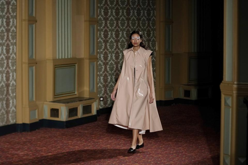 A model wears a creation of Francesca Liberatore Spring Summer 2022 collection, unveiled during the Milan Fashion Week, in Milan, Italy, Sunday, Sept. 26, 2021. (AP Photo/Luca Bruno)
