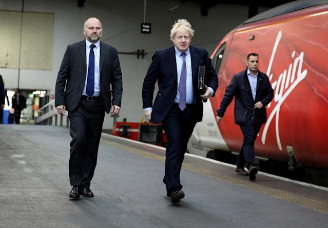 Britain's prime minister Boris Johnson arrives at Euston station in London to board a train ahead of delivering the Conservative party election manifesto in Telford on 24 November. Photo: Dan Kitwood/Reuters
