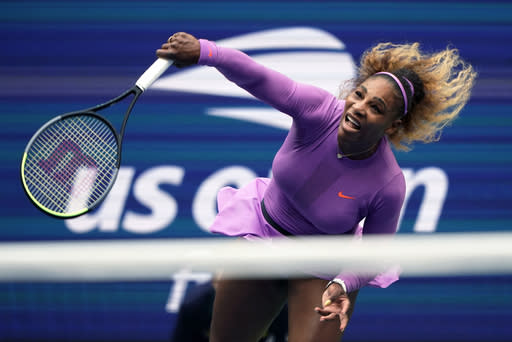 FILE - In this Sept. 7, 2019, file photo, Serena Williams returns a shot to Bianca Andreescu, of Canada, during the women's singles final of the U.S. Open tennis championships in New York. Williams is scheduled to play in the U.S. Open, scheduled for Aug. 31-Sept. 13, 2020. (AP Photo/Eduardo Munoz Alvarez, File)