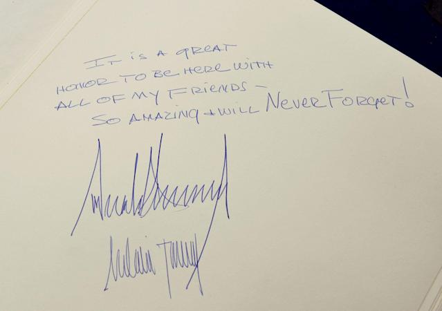 <p>The message written by U.S. President Donald Trump and his wife Melania, is seen in the Yad Vashem Holocaust Museum guestbook in Jerusalem May 23, 2017. (Debbie Hill/Pool/Reuters) </p>