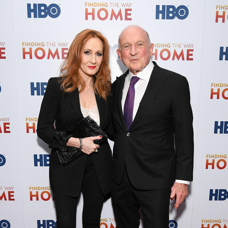 Harry Potter author JK Rowling (L) and Richard Robinson during an HBO event in 2019 (Getty Images)