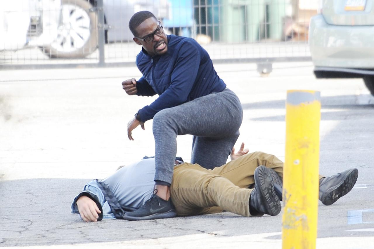 Sterling K. Brown gets dramatic on Friday while filming scenes for<em>This Is Us</em> in Highland Park, California.