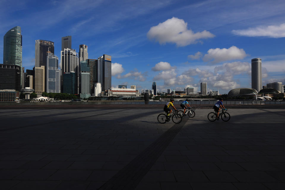 Cyclists along the bayfront in Singapore.