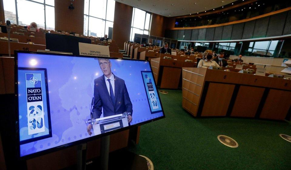 Nato Secretary General Jens Stoltenberg takes part in videoconference at the European Parliament in Brussels, Belgium on Monday. Photo: EPA-EFE