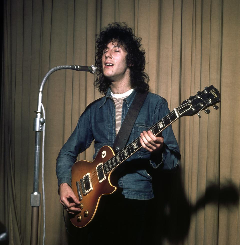 British rock musician Peter Green, of the group Fleetwood Mac, performs, London, England, late 1960s or early 1970s.