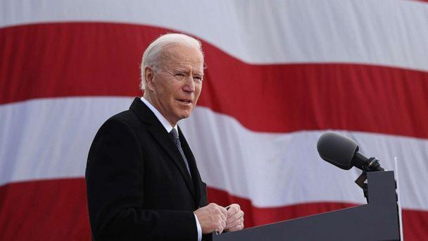 PHOTO: One day before being inaugurated as the 46th president of the United States, President-elect Joe Biden delivers remarks at the Major Joseph R. 'Beau' Biden III National Guard/Reserve Center, Jan. 19, 2021, in New Castle, Del.  (Chip Somodevilla/Getty Images)