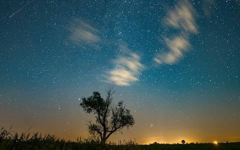 A shooting star, top left, is seen during the Perseid meteor shower in Poland in 2016. - Credit: EPA/LUKASZ OGRODOWCZYK