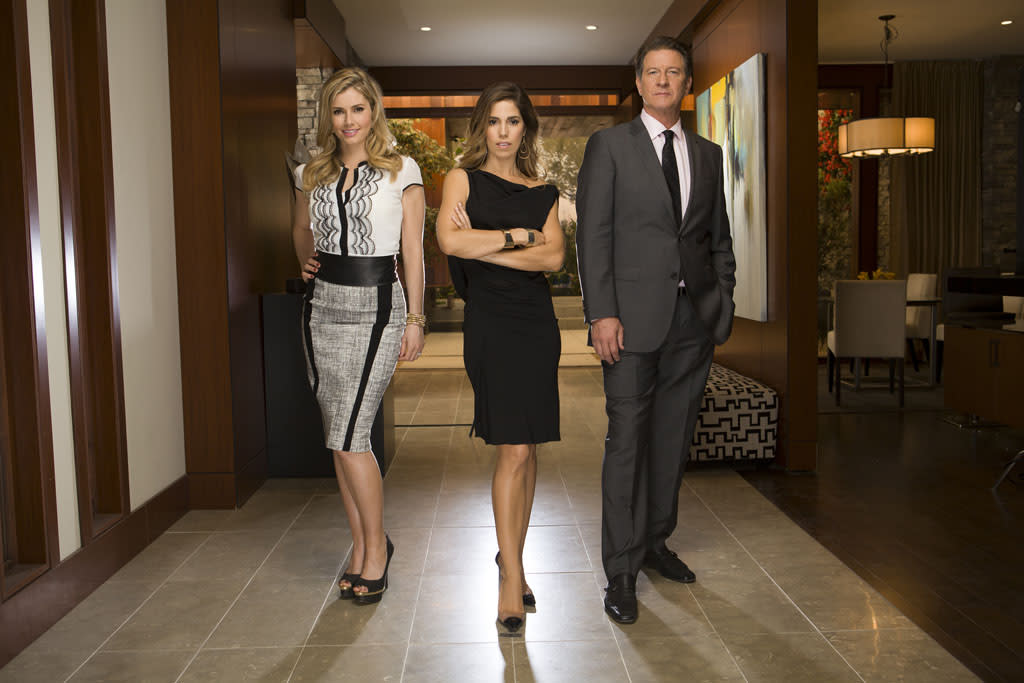 "Brianna Brown, Ana Ortiz and Brett Cullen in the Lifetime series ""Devious Maids."""