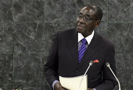 Robert Mugabe, President of the Republic of Zimbabwe, addresses the 68th United Nations General Assembly at U.N. headquarters in New York