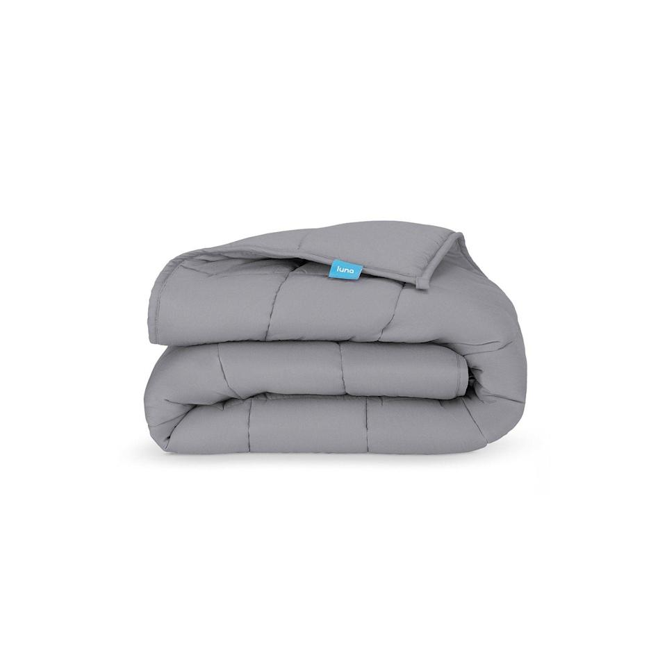 """<p><strong>Luna</strong></p><p>lunablanket.com</p><p><strong>$69.99</strong></p><p><a href=""""https://www.lunablanket.com/products/luna-weighted-blanket?variant=33472546799704"""" rel=""""nofollow noopener"""" target=""""_blank"""" data-ylk=""""slk:Shop Now"""" class=""""link rapid-noclick-resp"""">Shop Now</a></p><p>For the person who loves sleeping more than anyone you know AKA your bf.</p>"""