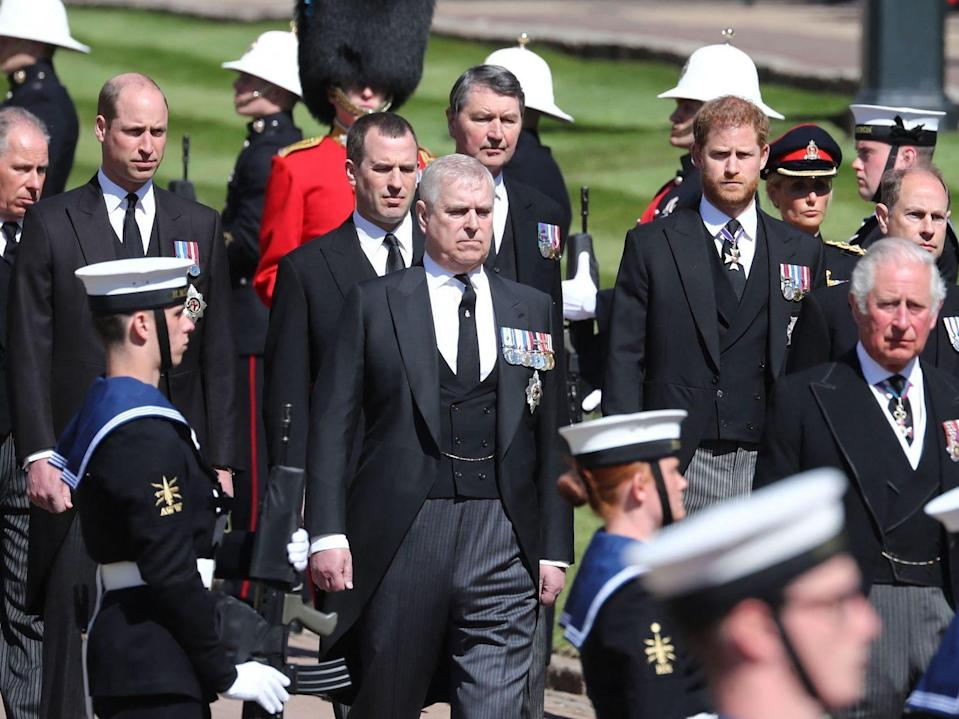 prince harry prince andrew at prince philip funeral