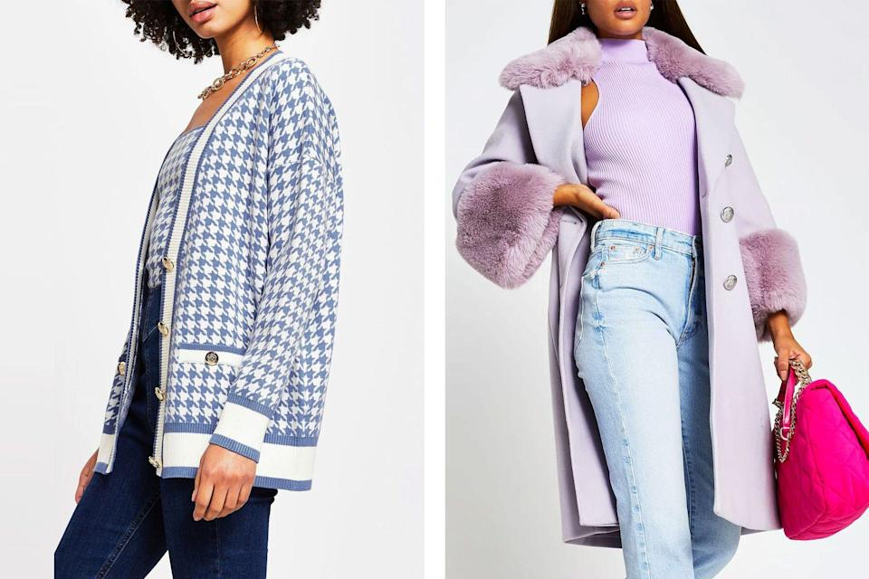 Women wearing houndstooth cardigan and purple jacket
