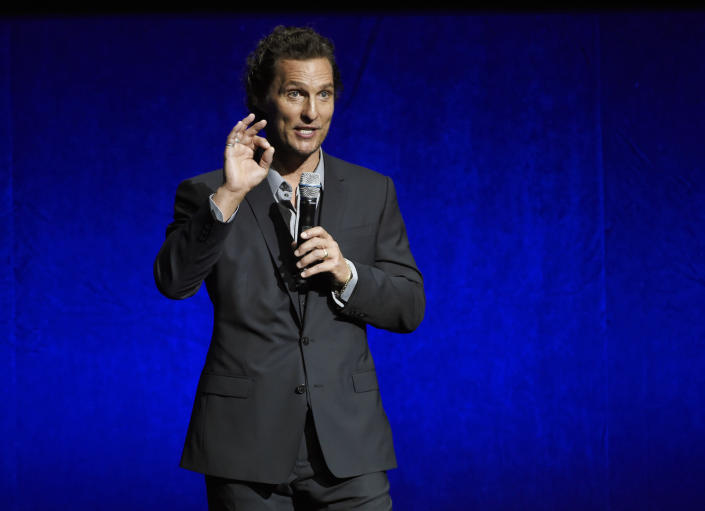 """FILE - Matthew McConaughey, a cast member in the upcoming film """"White Boy Rick,"""" addresses the audience during the Sony Pictures Entertainment presentation at CinemaCon on April 23, 2018, in Las Vegas. McConaughey turns 51 on Nov. 4. (Photo by Chris Pizzello/Invision/AP, File)"""