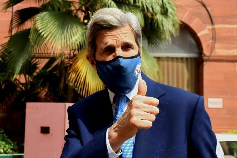 US climate envoy John Kerry arrives at India's finance ministry on April 6, 2021 as he prepares for President Joe Biden's climate summit