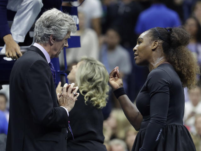 "Tennis star <a class=""link rapid-noclick-resp"" href=""/olympics/rio-2016/a/1132744/"" data-ylk=""slk:Serena Williams"">Serena Williams</a> pleads with chair umpire Carlos Ramos during the U.S. Open final. (AP)"