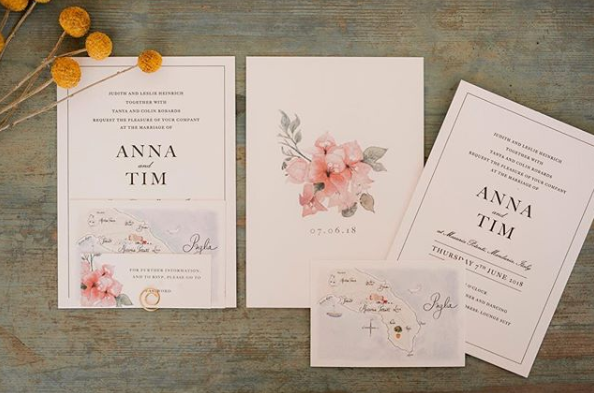 """<p>Just taking a look at the couple's wedding invites shows that no detail was too small for the lovebirds. Anna said their """"incredible"""" invites were classic with a touch of Italian flair and created by <a rel=""""nofollow"""" href=""""https://www.instagram.com/paperjamstudio/"""">@paperjamstudio</a>. Source: Instagram/AnnaHeinrich </p>"""