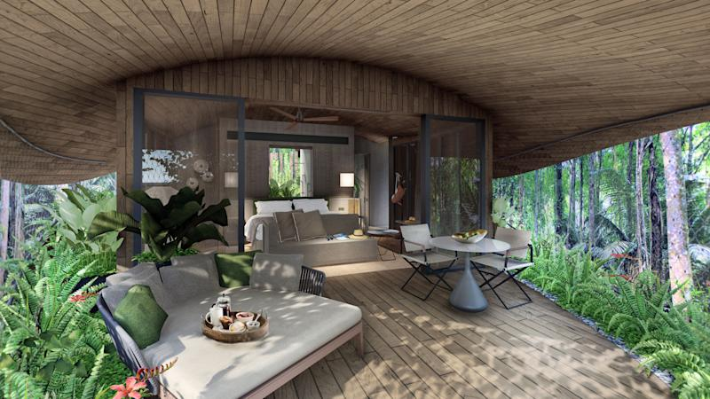 Exterior illustration of a tree house room. (PHOTO: Mandai Park Holdings)