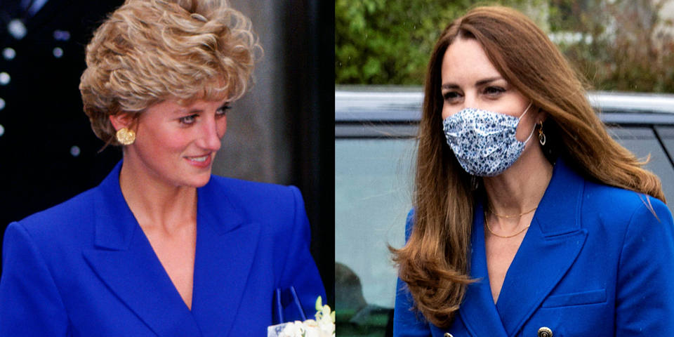 """<p>As two of the most stylish royal women in history it follows that Catherine, Duchess of Cambridge (AKA <a href=""""https://www.cosmopolitan.com/uk/fashion/celebrity/g3517/kate-middletons-outfits-style-fashion/"""" rel=""""nofollow noopener"""" target=""""_blank"""" data-ylk=""""slk:Kate Middleton"""" class=""""link rapid-noclick-resp"""">Kate Middleton</a>) and <a href=""""https://www.cosmopolitan.com/uk/fashion/celebrity/g33507171/princess-diana-summer-style/"""" rel=""""nofollow noopener"""" target=""""_blank"""" data-ylk=""""slk:Princess Diana"""" class=""""link rapid-noclick-resp"""">Princess Diana</a> have sported similar outfits. What's particularly eerie, though, is just how similar some of their most iconic looks are.<br></p><p>As Kate's predecessor, Diana helped forged the way for fashion-forward royalty. While their wardrobe staples may differ - Diana had an affinity for tailored skirt suits whereas Kate prefers minimalist coat dresses - there's no denying that the Duchess still looks to her mother-in-law for sartorial inspiration (just like <a href=""""https://www.cosmopolitan.com/uk/fashion/celebrity/g33445120/meghan-markle-princess-diana-outfit/"""" rel=""""nofollow noopener"""" target=""""_blank"""" data-ylk=""""slk:Meghan Markle"""" class=""""link rapid-noclick-resp"""">Meghan Markle</a>).</p><p>Scroll down to see the very best times Kate Middleton dressed like Princess Diana. </p>"""