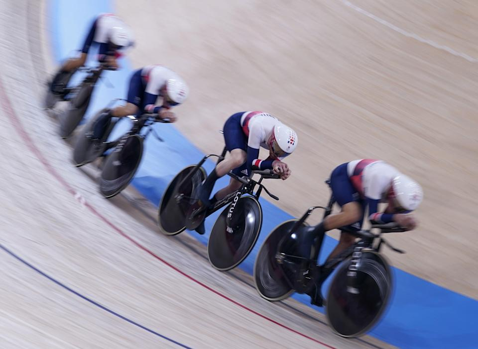 Ethan Hayter, Ed Clancy, Ethan Vernon and Ollie Wood in action (Danny Lawson/PA) (PA Wire)