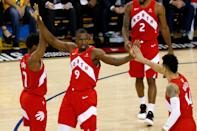 Serge Ibaka #9 of the Toronto Raptors celebrates the basket against the against the Golden State Warriors during Game Four of the 2019 NBA Finals at ORACLE Arena on June 07, 2019 in Oakland, California. (Photo by Lachlan Cunningham/Getty Images)
