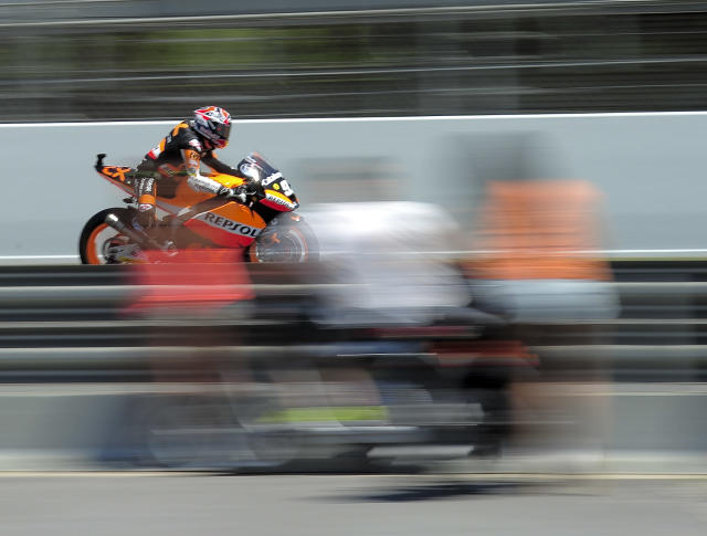 Team Catalunyacaixa Repsol's Spanish Marc Marquez rides at the Catalunya racetrack in Montmelo, near Barcelona, on June 2, 2012, during Moto2 qualifying session of the Catalunya Moto GP Grand Prix. AFP PHOTO / JOSEP LAGOJOSEP LAGO/AFP/GettyImages