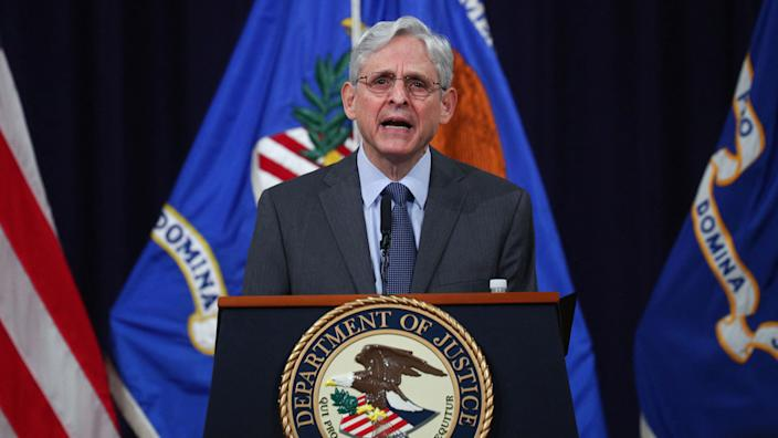 US Attorney General Merrick Garland delivers remarks on voting rights at the US Department of Justice in Washington, DC on June 11, 2021. (Tom Brenner/AFP via Getty Images)