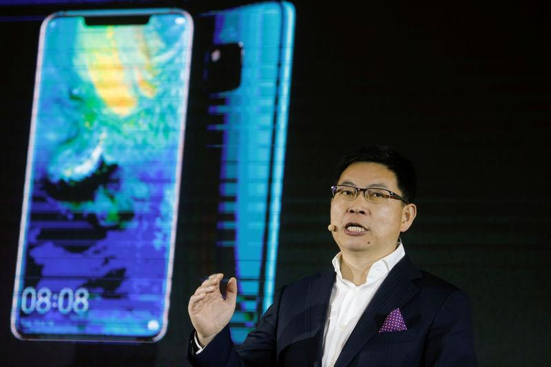 The head of Huawei's consumer business group, Richard Yu, speaks during a presentation in Beijing