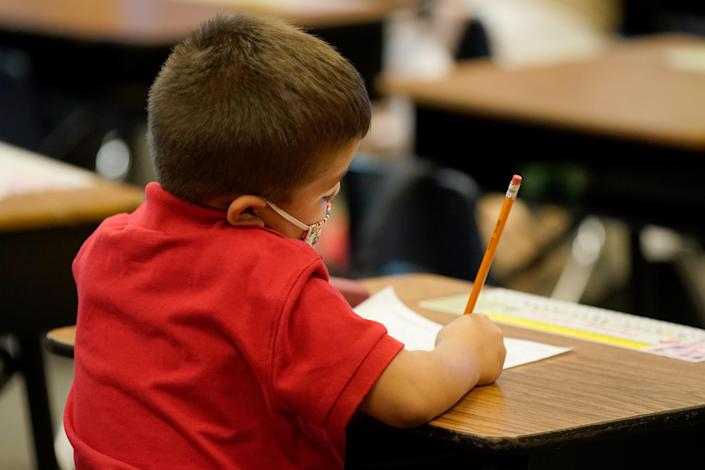 A young student at Freedom Preparatory Academy in Provo, Utah. (George Frey/AFP via Getty Images)