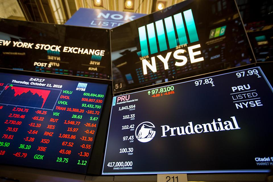 A monitor displays Prudential Financial Inc. signage on the floor of the New York Stock Exchange (NYSE) in New York, U.S., on Thursday, Oct. 11, 2018. U.S. stocks fell for a sixth day, extending the longest losing streak of Donald Trump's presidency, as energy shares plunged and a rally in tech failed to lift the broader market. Photographer: Michael Nagle/Bloomberg via Getty Images