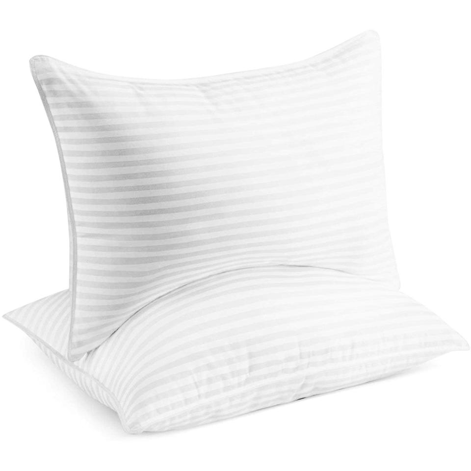 """<h2>Beckham Hotel Collection Gel Pillows</h2><br><strong>The Hype: </strong>4.5 out of 5 stars and 90,164 reviews on <a href=""""https://www.amazon.com/Beckham-Hotel-Collection-Pillow-2-Pack/dp/B01LYC1XSM"""" rel=""""nofollow noopener"""" target=""""_blank"""" data-ylk=""""slk:Amazon"""" class=""""link rapid-noclick-resp"""">Amazon</a><br><br><strong>Side Sleepers Say:</strong> """"I am a side sleeper, and I like a firmer mattress. These are sturdy enough for side sleeping while being fluffy and soft. They retain their shape and bounce back with minimal fluffing."""" — <em>Dar, Amazon reviewer</em><br><br><strong><em>Deal:</em></strong><em> Currently 10% off</em><br><br><em>Shop <strong><a href=""""https://www.amazon.com/stores/Beckham+Luxury+Linens/page/A262D593-FB2B-480A-827F-5A973314BB53"""" rel=""""nofollow noopener"""" target=""""_blank"""" data-ylk=""""slk:Amazon"""" class=""""link rapid-noclick-resp"""">Amazon</a></strong></em><br><br><strong>Beckham Luxury Linens</strong> Beckham Hotel Collection Gel Pillows, $, available at <a href=""""https://amzn.to/39P7oth"""" rel=""""nofollow noopener"""" target=""""_blank"""" data-ylk=""""slk:Amazon"""" class=""""link rapid-noclick-resp"""">Amazon</a>"""