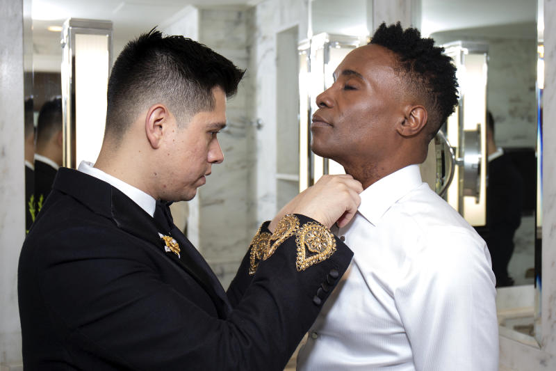 Getty Images — Santiago Felipe: Sam Ratelle adjusts Billy Porter's collar ahead of the 2019 Tony Awards.