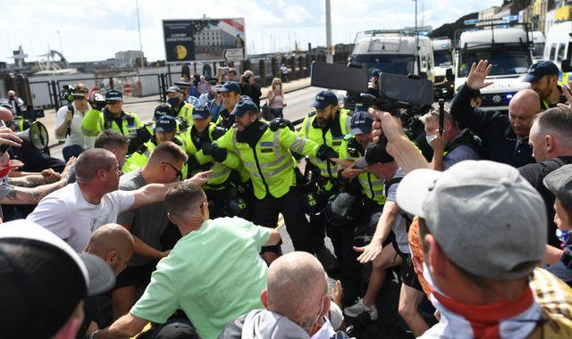 Arrests as anti-immigration protesters clash with police and block A20 into Dover
