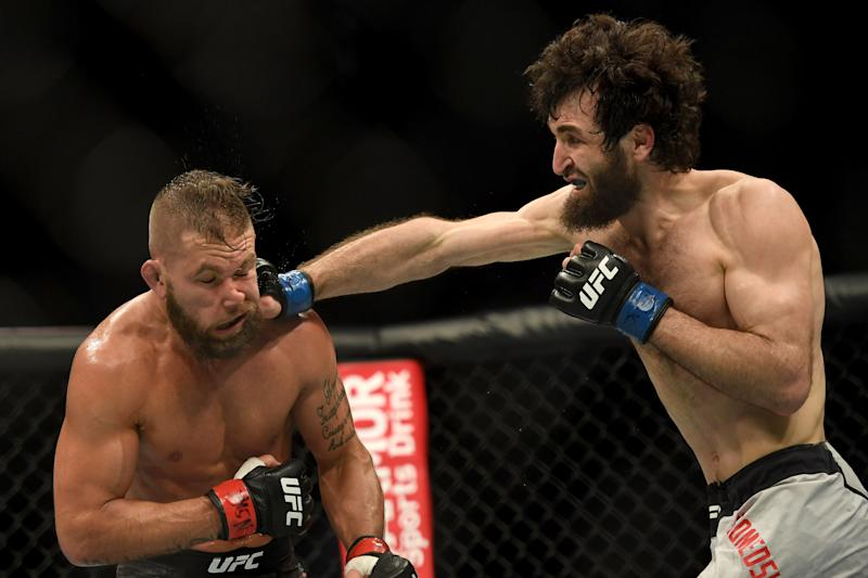 LAS VEGAS, CA - MARCH 02: Zabit Magomedsharipov lands a punch to the head of Jeremy Stephens. Magomedsharipov defeated Stephens via judges decision during UFC 235 at the T-Mobile Arena in Las Vegas, NV, Saturday, Mar. 2, 2019. (Photo by Hans Gutknecht/MediaNews Group/Los Angeles Daily News via Getty Images)