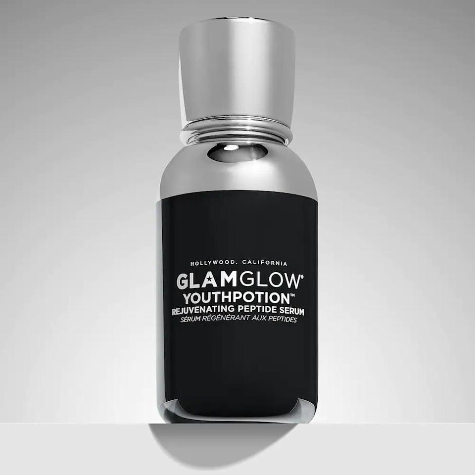 <p>Help anti-age with the <span>GlamGlow YouthPotion Collagen Boosting Peptide Serum</span> ($65) which contains raspberry stem cells, peptides, and hyaluronic acid.</p>