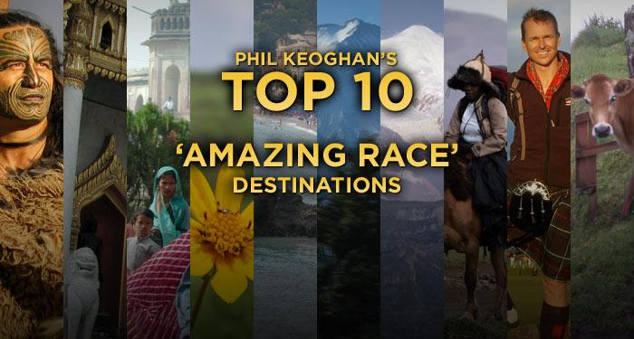 "Phil Keoghan has been around the world and back ... many times as the host of the <a href=""/the-amazing-race-13/show/42438"">""Amazing Race.""</a> But what are his favorite places that he's visited? Click through this slideshow to check out his Top 10 destinations from the <a href=""/the-amazing-race-13/show/42438"">""Amazing Race""</a> with exclusive personal photos and commentary on why each place is special from our favorite Kiwi."