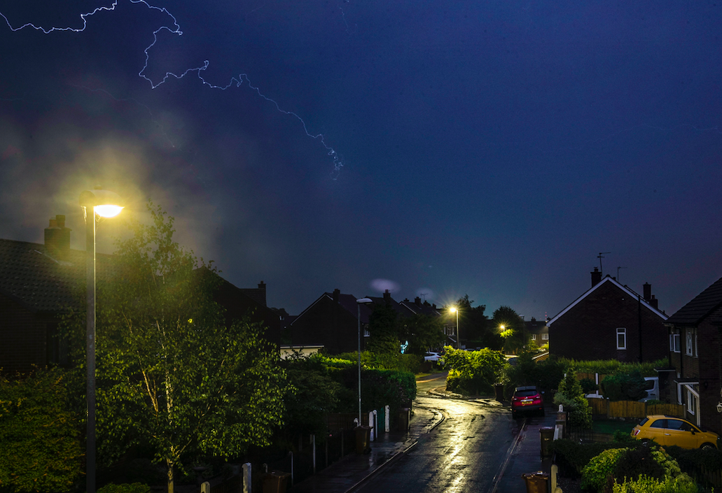 Residents in Leeds in West Yorkshire were woken by thunderous sounds and electric skies. (PA)