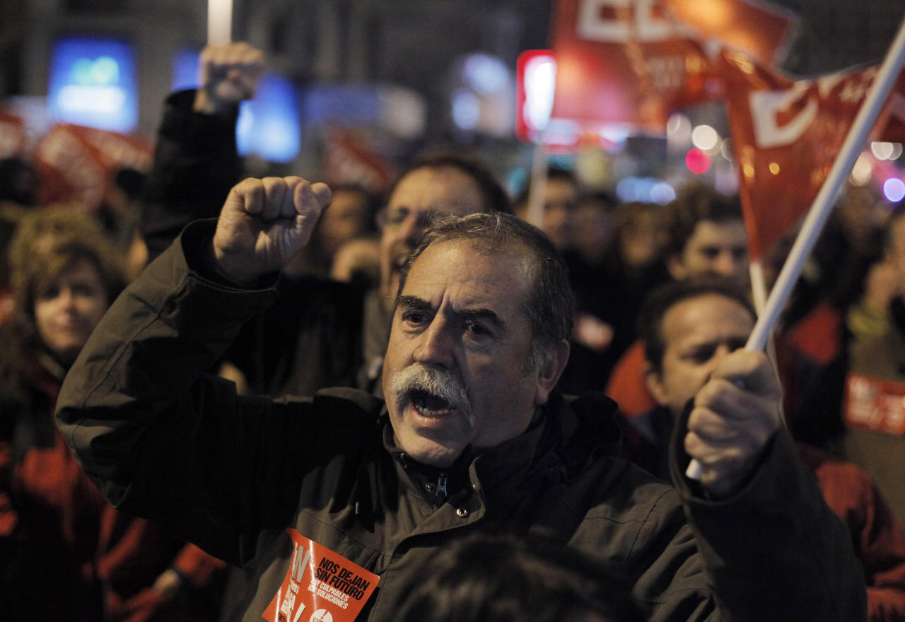 A protester shouts slogans during a general strike in Madrid, Spain, Wednesday, Nov. 14, 2012. Spain's main trade unions stage a general strike, coinciding with similar work stoppages in Portugal and Greece, to protest government-imposed austerity measures and labor reforms. The strike is the second in Spain this year. (AP Photo/Andres Kudacki)