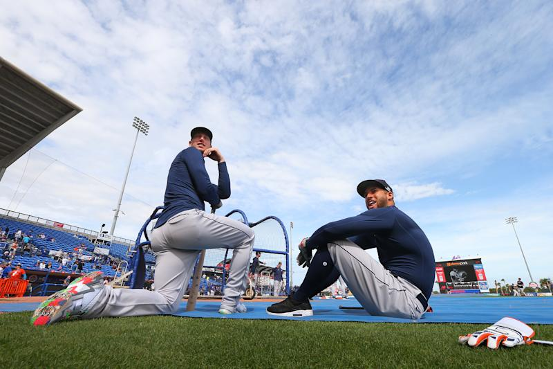 PORT ST. LUCIE, FL - MARCH 08: Kyle Tucker #30 and George Springer #4 of the Houston Astros on the field during batting practice before a spring training baseball game against the New York Mets at Clover Park on March 8, 2020 in Port St. Lucie, Florida. (Photo by Rich Schultz/Getty Images)