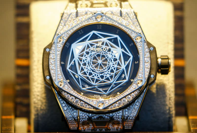 A watch is displayed at a shop of LVMH's Hublot in Zurich