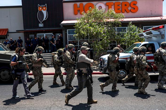 Law enforcement agencies responding to an active shooter in El Paso, Texas, on Saturday. (Photo: Joel Angel Juarez/AFP/Getty Images)