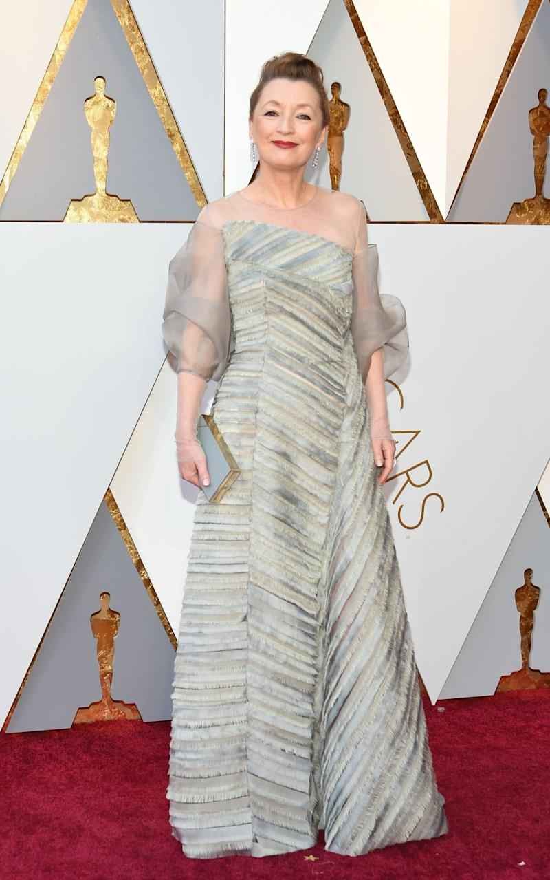 British Lesley Manville, wearing Anna Valentine, arrives at the Oscars 2018 - AFP