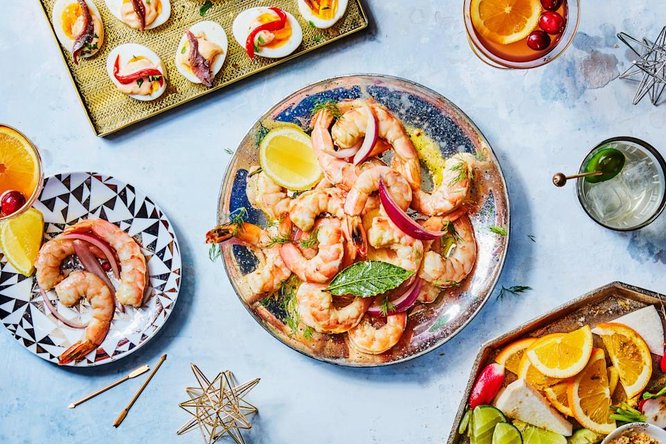 "Pickled shrimp are bright and refreshing, perfect as hors d'oeuvres or a snacky dinner. Make them a day in advance so you're ready to serve them without any effort. <a href=""https://www.epicurious.com/recipes/food/views/pickled-shrimp-12704?mbid=synd_yahoo_rss"" rel=""nofollow noopener"" target=""_blank"" data-ylk=""slk:See recipe."" class=""link rapid-noclick-resp"">See recipe.</a>"